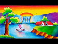 How to Draw Easy Scenery || Easy Scenery Drawing-Step by Step - YouTube Oil Pastel Drawings Easy, Easy Drawings, Pencil Drawings, Scenery Drawing For Kids, Art Drawings For Kids, Drawing Sunset, Nature Drawing, Art Illustrations, Illustration Art