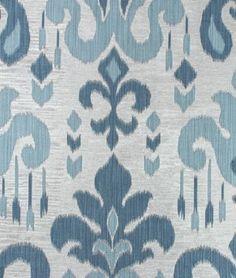 Light Blue Ikat Upholstery Fabric   Indigo Blue Large Scale Damask Design  Drapery Material   Medallion Fabric   Indigo Blue Home Decor