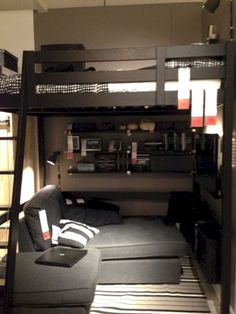 Awesome loft bed for tiny house bedroom, my teenage son will love this! Awesome loft bed for tiny house bedroom, my teenage son will love this! Awesome loft bed for tiny house bedroom, my teenage son will love this! Tiny House Bedroom, Bedroom Loft, Bedroom Apartment, Home Bedroom, Bedroom Decor, Ikea Bedroom, Bedroom Storage, Bedroom Small, Bedroom Organization