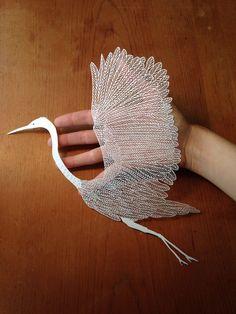 papercut egret! Xmas present for @Sara Green! bravebirdpaperart.com