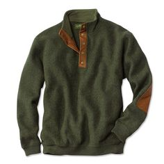 For Phil Wool Pullover Sweater / Boiled-Wool Snap-Front Pullover -- Orvis Pullover Sweaters, Men Sweater, Mens Pullover, Comfy Sweater, Wool Sweaters, Well Dressed Men, Look Chic, Sweater Weather, Autumn Winter Fashion