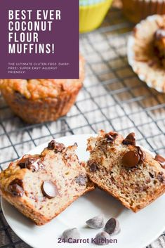 Enjoy these delicious fluffy coconut flour muffins for breakfast snack or anytime! Just a few ingredients needed to whip up coconut flour banana muffins! Plus more coconut flour recipes to check out on-site! Paleo Banana Muffins, Coconut Muffins, Coconut Flour Recipes, Banana Chocolate Chip Muffins, Healthy Eating Recipes, Whole Food Recipes, Dairy Free Recipes, Paleo Recipes, Snack Recipes