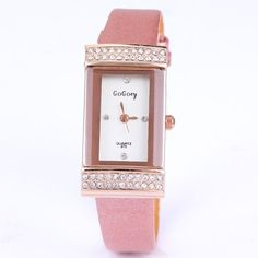 Fashion luxury crystal rhinestone women watch leather quartz watches for girls - List price: $30.00 Price: $12.50