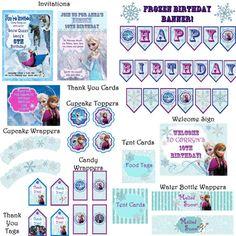 Frozen Birthday Party Premium pack!  JPEG 300 dpi Printable DIY Decor, Disney's Frozen movie Queen Elsa Princess Anna  Oloff winter frosty on Etsy, $20.00