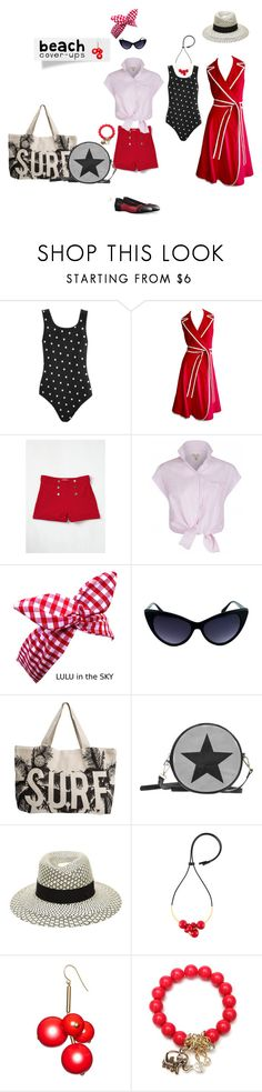 """""""Rockabilly   Red, White & Black   Beach Cover ups"""" by silkester ❤ liked on Polyvore featuring Rip Curl, Maison Michel, Marni, coverups and plus size clothing"""