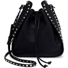 Handbags Shoulder Bags Arel Accessories Black Valentino Purses Genuine Leather Studded Purse And