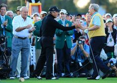 Honorary starters Arnold Palmer, Gary Player of South Africa and Jack Nicklaus stand on the tee box at the start of the first round of the 2012 Masters Tournament at Augusta National Golf Club on April 5, 2012 in Augusta, Georgia. (Photo by David Cannon/Getty Images)