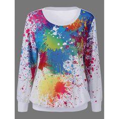 Splatter Paint Kangaroo Pocket Sweatshirt | TwinkleDeals.com
