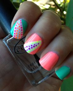 Neon nails for Summer. <3 the colors & design. :-)