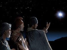Free Bible images of the Wise Men (Magi) following a new bright star to bring gifts to the new born king. (Matthew 2:1-14): Slide 1