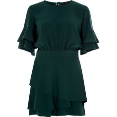 River Island Dark green frill sleeve tie back romper ($92) ❤ liked on Polyvore featuring jumpsuits, rompers, romper, green, playsuits, rompers / jumpsuits, women, golf skirts, dark green jumpsuit and skort romper