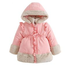41d31a9f3 Fashion new cute Children clothing with girl hood cotton long sleeve warm coat  jackets clothes