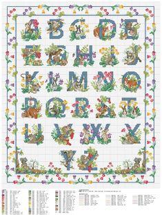 Cross stitch Forest Friends Alphabet by Donna Vermillion Gampa