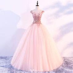 Hermoso Perla Rosada Vestidos de gala 2018 Ball Gown Scoop Escote Mangas de la tapa Apliques Flor Rebordear Largos Ruffle Sin Espalda Vestidos Formales