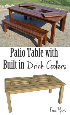 This patio table is perfect for entertaining, from spring to summer to fall! Built-in drink cooler/ice boxes keep your drinks chilled, so the party never has to wait. Free building plans!