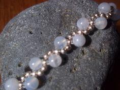 Blue lace agate & sterling silver Wavy bracelet by Handmade Jewellery, Unique Jewelry, Handmade Gifts, Blue Lace Agate, Sterling Silver Jewelry, Dawn, Pearl Necklace, Beaded Bracelets, Pearls