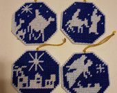 Nativity ornaments - plastic canvas - religious - tree ornaments - Christmas