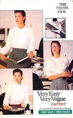 VOGUE 7332 - FROM 1988 - UNCUT - MISSES PETITE BLOUSE