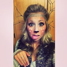 "DIY Deer costume #halloween #deercostume #deermakeup #DIYantlers #girlcostume ""You'll look so cute no hunter will want to shoot you!"" ;)"