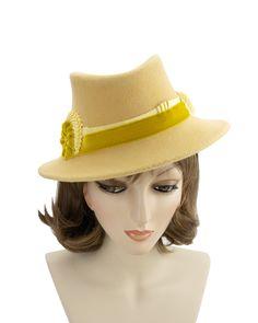Fall Hat Green Melusine Hat Vintage Melusine Hat Elegant Hat 1950s Green Hat Vintage Ladies Hat 1950s Ladies Hat