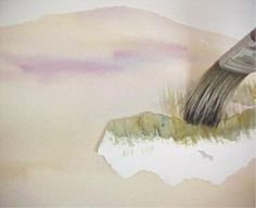 Painting Sand and Beach Grass in Watercolor by Susie Short. EXCELLENT tutorial. LOVE the tip of using a piece of cut card to put down the grass !!!