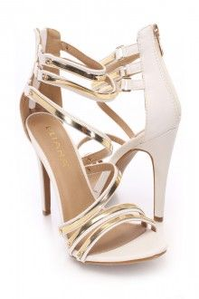 White Strappy Front Open Toe Singe Sole Heels Faux Leather