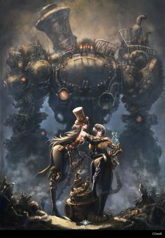 Engineer couple and their robot golem, steampunk / fantasy inspiration - steampunktendencies: Huatian School Robots Steampunk, Steampunk Kunst, Steampunk Artwork, Steampunk Characters, Fantasy Characters, Female Characters, Steampunk Airship, Monster Characters, Dnd Characters
