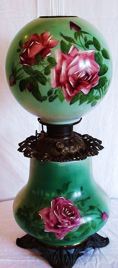 Huge Late Beautiful Original Antique Parlor Oil Lamp with hand painted Roses on the glass shade and base. Antique Oil Lamps, Old Lamps, Antique Lighting, Vintage Lamps, Victorian Lamps, Victorian Furniture, Victorian Parlor, Objets Antiques, Kerosene Lamp