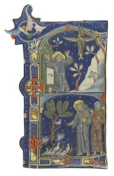 ST FRANCIS' STIGMATISATION and PREACHING TO BIRDS, initial 'F' from an antiphonal [Assisi, c. 1280s]