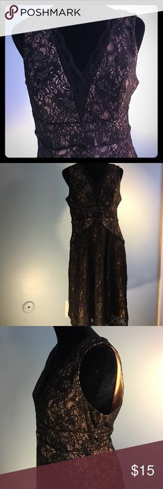 💕Simply Liliana Dress💕 Black Lace Dress with a Tan slip that peeks through the black lace! Dress goes just below the knee. I got so May compliments on this dress both times I wore it! Unfortunately doesn't fit me anymore! Dresses Midi
