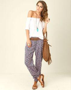 loose white tee, floral hippy pants, tan belt and tan gladiators