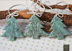 Set of Three Christmas Trees Toys Polymer Clay Christmas decor Christmas Ornament Holiday Decoration Christmas Gift Idea Mint Color by Etniika on Etsy
