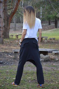 Black Drop Crotch Harem Pants / Maxi Cotton Pants / by SSDfashion