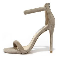 Steve Madden Fancci Taupe Suede Ankle Strap Heels ($79) ❤ liked on Polyvore featuring shoes, heels, sandals, grey, gray high heel shoes, polish shoes, twisted shoes, taupe shoes and gray shoes