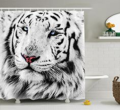 White Tiger Winter Rare Wild Cat Eyes National Geographic Art Shower Curtain Set #Ambesonne