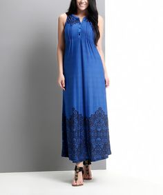 Another great find on #zulily! Blue Lace Print Button-Front Maxi Dress - Plus by Reborn Collection #zulilyfinds