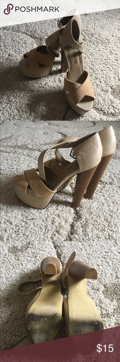 Over 5in platform heel Only worn a few time a little too high for me but pretty comfortable Shoe Dazzle Shoes Platforms