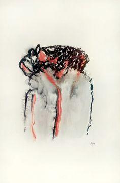 Henri Michaux. Composition. 1975. Aquarelle, pastels noir et rouge sur papier, monogrammé en bas à droite. 50 x 32 cm. 8000