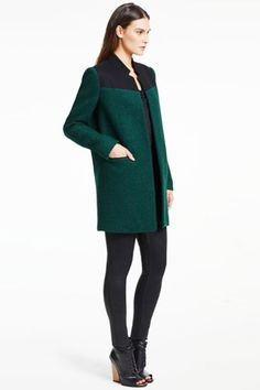 12 Coat Trends To Warm Up To #refinery29 Good color and the color blocking works because it does't fall at the waist or hips.