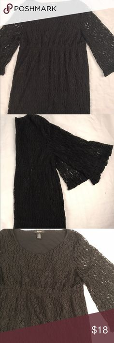 Xl black lace flattering empire waist dress Black lace. Empire waist. W flattering kimono type sleeve. Like new. Reasonable offers accepted! Style & Co Dresses Long Sleeve