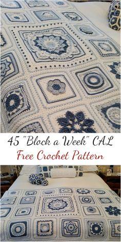 "45 ""Block a Week"" CAL Free Crochet Pattern #crochet #crochetpattern #freepattern #homedecorideas #craft #handmade"