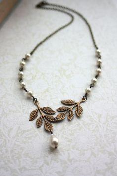 Wedding Jewelry. Bridal Necklace. Brass Leaf