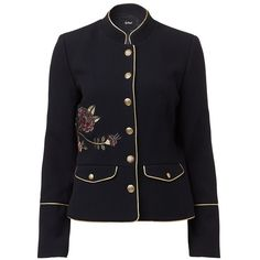 EMBROIDERED MILITARY JACKET (€120) ❤ liked on Polyvore featuring outerwear, jackets, army jacket, embroidered jacket, military jackets, embroidery jackets and field jacket