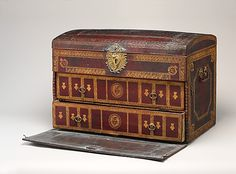 Trunk Date: second quarter 18th century Culture: French Medium: Leather, oak, beech, bronze gilt, silk