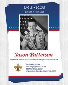Eagle Scout Court of Honor Invitations with photo