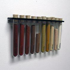 This test tube spice rack is sure to add some color to your kitchen or the kitchen of your friend who is always cooking up delicious creations. Made of