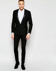 Черный пиджак-смокинг ультразауженного кроя ASOS