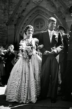 Jacqueline Bouvier and John F. Kennedy, 1953 - perhaps the best photo I have ever seen of her gown.