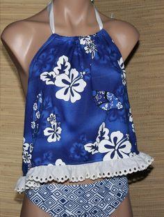 Blue Hawaiin print, Backless Hi-Lo top, Hibiscus, Surfboard on Etsy, $15.00