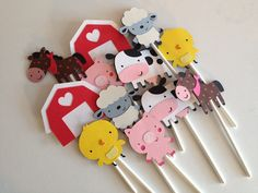 Set Of 12 Barn Yard Animal Cupcake Toppers, cow, sheep, pig, horse, chick, farm animals, birthday party, baby showers, cupcake decorations. $10.00, via Etsy.